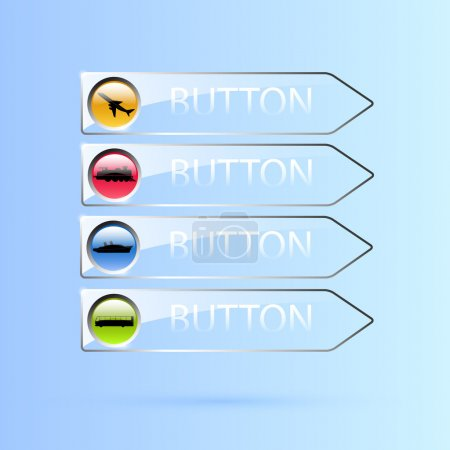 Illustration for Vector set of glass transport buttons. - Royalty Free Image