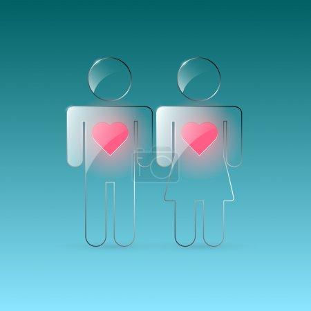 Photo pour Vecteur mâle et femelle signe amoureux - image libre de droit
