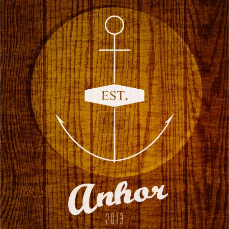 Vector logo with anchor on wooden background