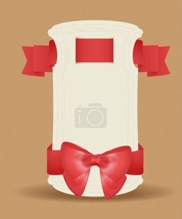 Geschenkkarte mit roten Bändern