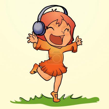 Dancing girl listen music in headphones