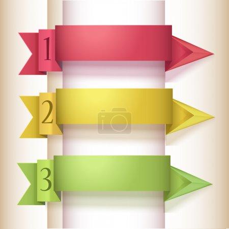 Illustration pour Bannière colorée d'options de numéro de style Origami. Illustration vectorielle . - image libre de droit