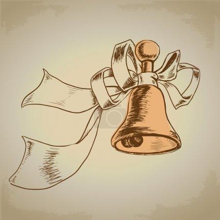 Illustration pour Cloche vectorielle dorée avec ruban - image libre de droit