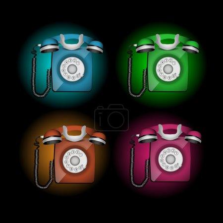 Set of telephones vector