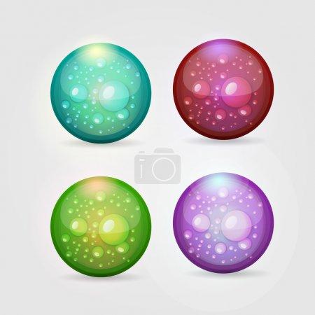 Vector set of colored aqua buttons