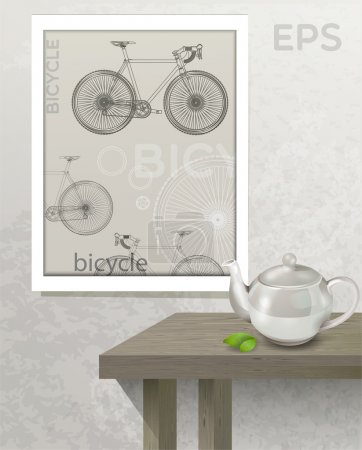 Table with teapot and picture with bicycle