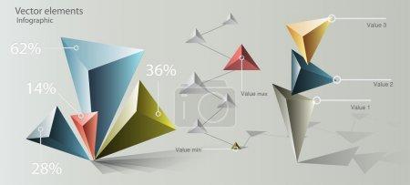 Illustration pour Éléments d'infographie Paper Origami - image libre de droit