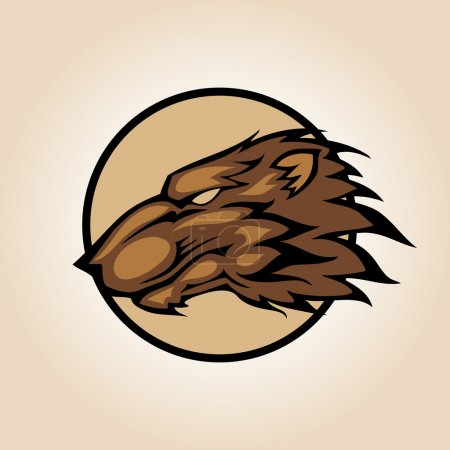 Vector illustration of a bear head snapping set inside circle.