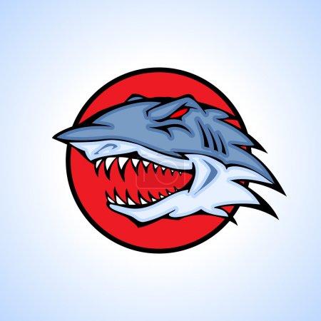 Illustration pour Illustration vectorielle d'une tête de requin sertie d'un cercle . - image libre de droit