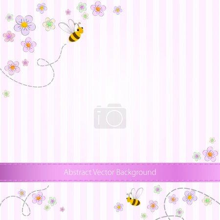 Vector rosa fondo rayado con abejas y flores
