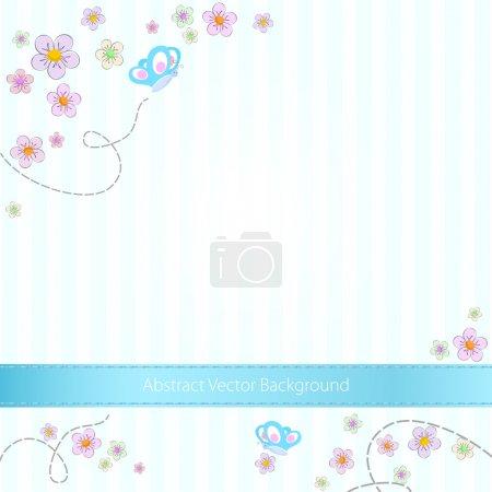 Vector fondo rayado azul con mariposas y flores
