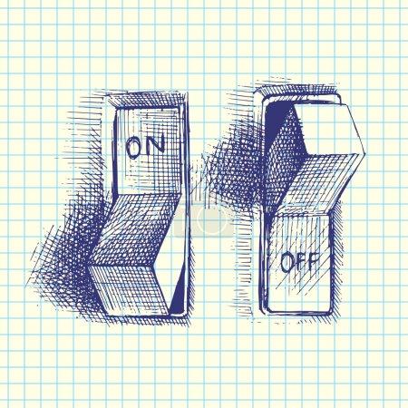 Illustration pour Interrupteur marche / arrêt, dessiné à la main, vecteur - image libre de droit