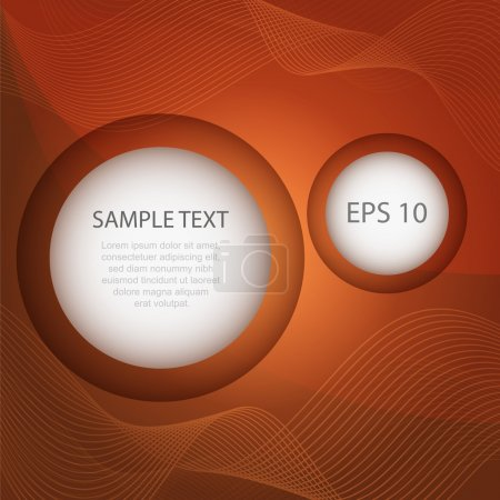 Abstract sequence of circles on the orange background for design vector