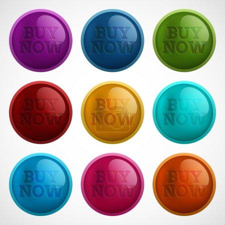 Illustration pour Ensemble de boutons colorés - acheter maintenant - image libre de droit