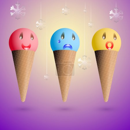 Illustration for Ice cream emotions. Vector set. - Royalty Free Image