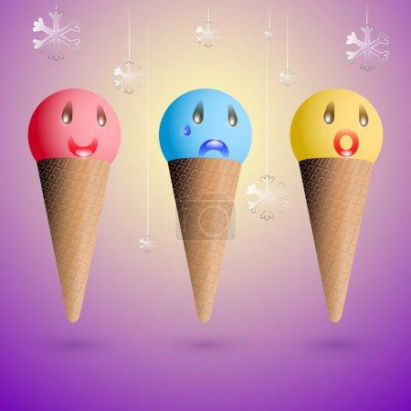 Illustration pour Des émotions glacées. Ensemble vectoriel . - image libre de droit