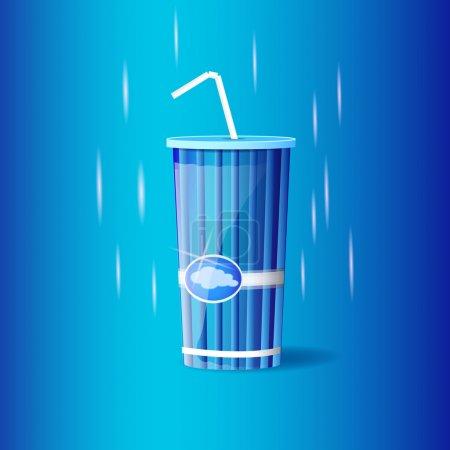 Illustration pour Conteneur en plastique avec paille - image libre de droit