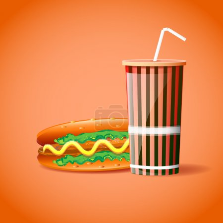 Illustration pour Conteneur en plastique avec paille et hot-dog - image libre de droit