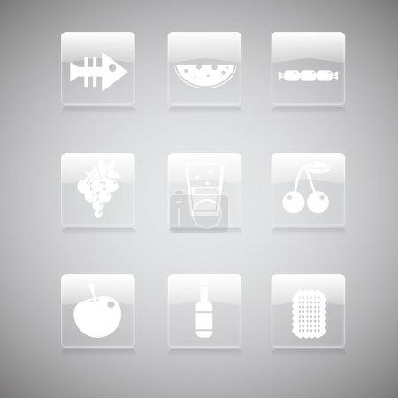 Illustration pour Icônes alimentaires, illustration vectorielle - image libre de droit