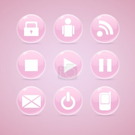 Illustration for Glossy media buttons. Vector - Royalty Free Image