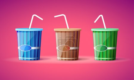 Illustration pour Trois conteneurs en plastique avec des pailles - image libre de droit