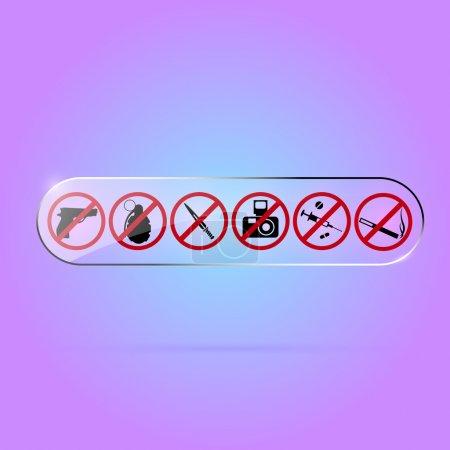 Illustration pour Ensemble vectoriel de signes interdits . - image libre de droit