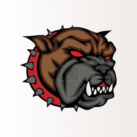 Vector illustration of a bulldog head snapping set inside circle.
