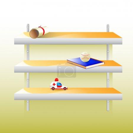 Illustration pour Vecteur élégant étagère moderne avec différentes choses sur elle - image libre de droit
