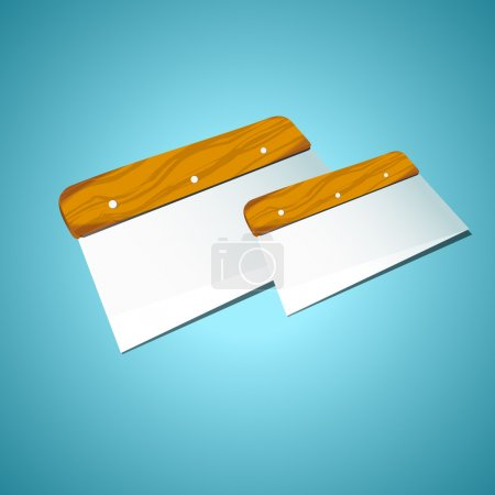 Spatula on a blue background, vector