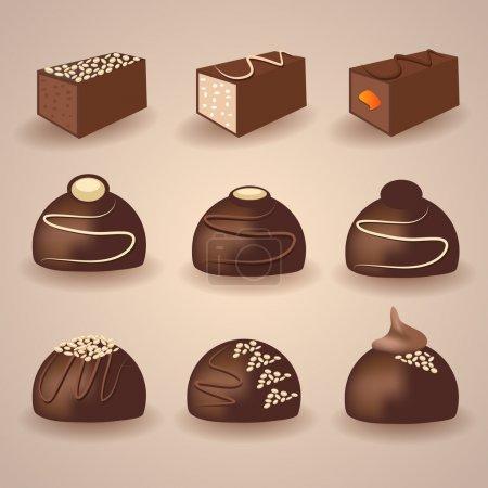 Illustration pour Ensemble vectoriel de bonbons au chocolat - image libre de droit