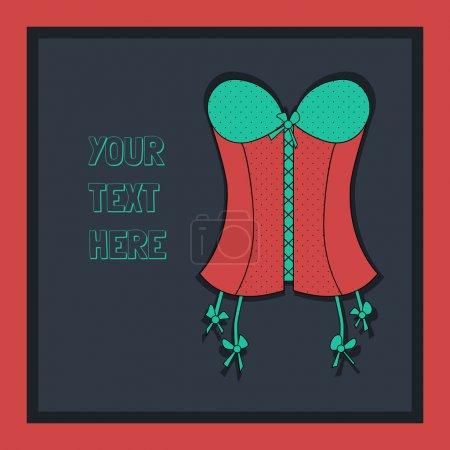 Illustration pour Fond vintage avec corset rouge dame - image libre de droit