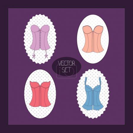 Illustration pour Vintage fond violet avec corset de dame - image libre de droit