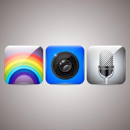 Icons set of microphone, camera, rainbow