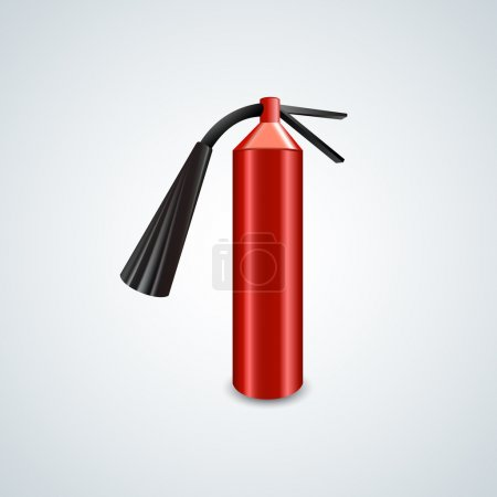 Red metal glossiness fire extinguisher. Vector illustration.