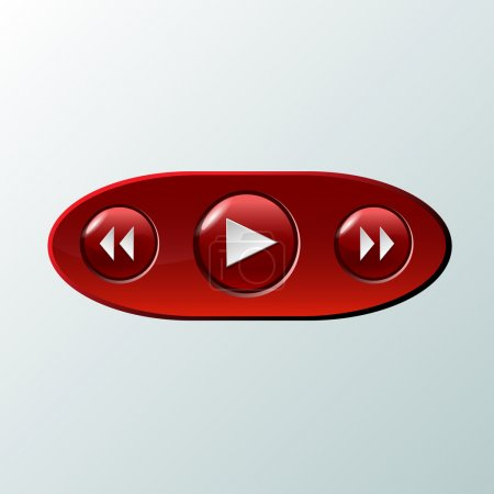 Red media buttons. vector illustration