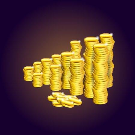 Illustration pour Des piles de pièces d'or. Illustration vectorielle . - image libre de droit