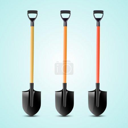 Vector illustration of shovels.