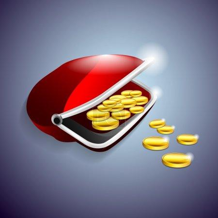 Illustration pour Porte-monnaie rouge avec des pièces d'or. Illustration vectorielle . - image libre de droit