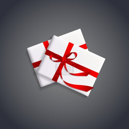 Vector illustration of gift boxes with red ribbon.