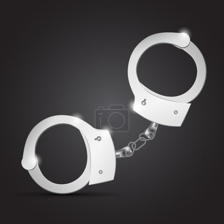 Illustration for Vector illustration of metal handcuffs. - Royalty Free Image