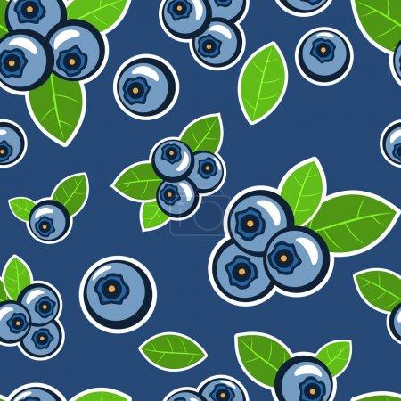 Illustration pour Fond vectoriel aux myrtilles aux feuilles - image libre de droit