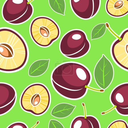 Illustration pour Fond vectoriel avec prunes - image libre de droit