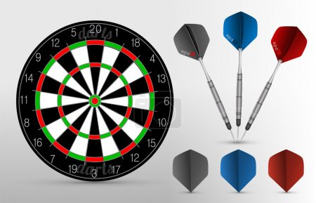 Dartboard with three darts on the white background. Vector