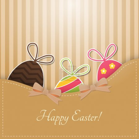 Vector greeting card for Easter with Easter eggs