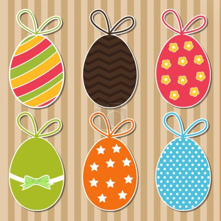 Bright easter eggs card. Vector
