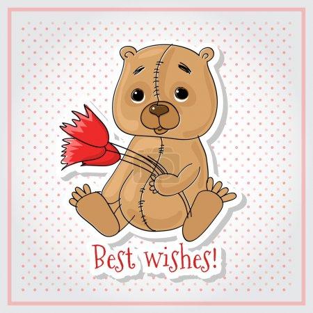 Illustration pour Carte de vœux vectorielle avec ours - image libre de droit