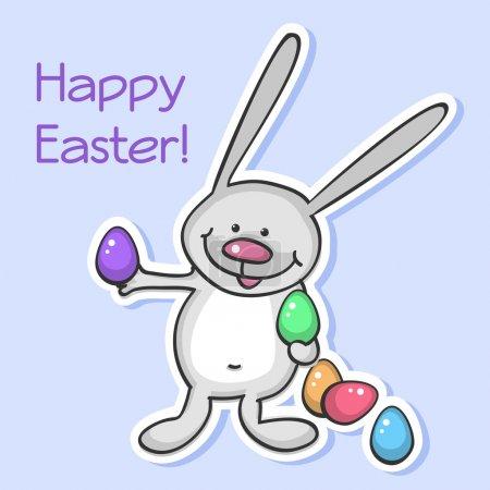 Illustration pour Lapin de Pâques aux œufs. Illustration vectorielle . - image libre de droit
