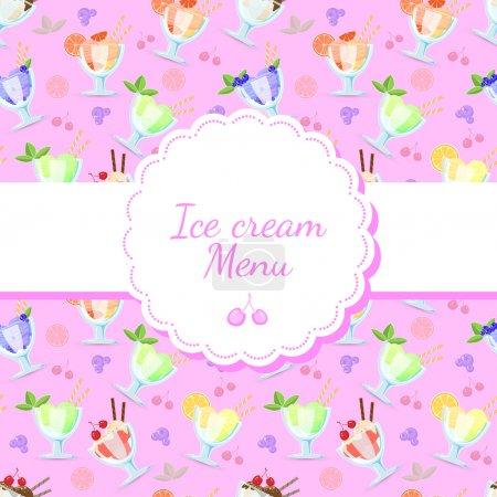 Illustration pour Fond vectoriel pour menu de crème glacée . - image libre de droit