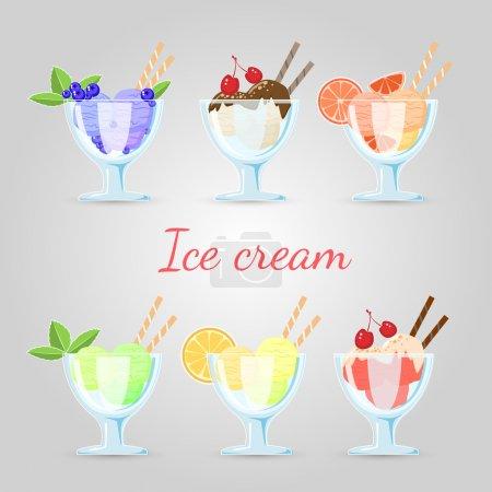 Illustration pour Ensemble vectoriel de différentes glaces . - image libre de droit