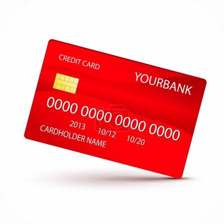 Illustration pour Illustration vectorielle de carte de crédit rouge - image libre de droit
